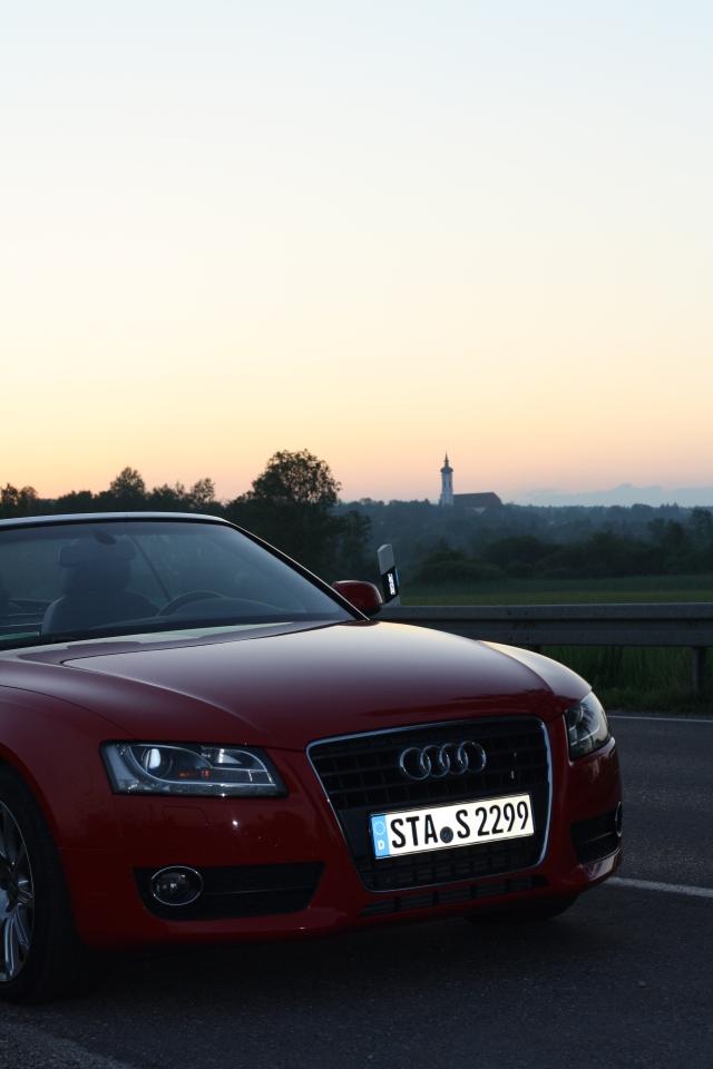 Sonnenuntergang mit Marienmünster Dießen und The Goddess, dem Audi A5 Cabriolet