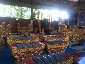 Instrumente eines Gamalan-Orchesters