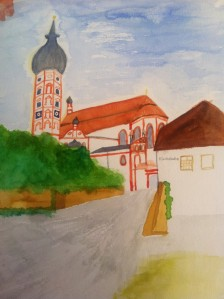 Kloster Andechs, Aquarell