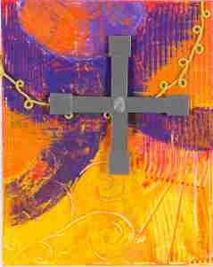 Gleichseitiges Kreuz, Acrylbild von Sabine Engert