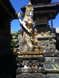 The goddess Saraswati in Pura Saraswati in Ubud